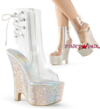 Beau-1018DM, 6 Inch wedge Rhinestones Ankle Boots