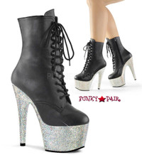Bejeweled-1020-7, 7 Inch rhinestones platform ankle boots
