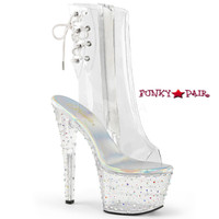 Stardance-1018C-7, 7 Inch Open Toe and Back Clear Ankle Boots with Rhinestones Platform
