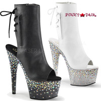 Starsplash-1018-7, 7 Inch Open Toe and Back Ankle Boots with Star