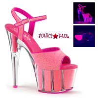 Adore-709G, 7 Inch High Heel Platform with Glitter Fill and Backlight Reactive