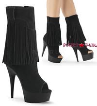 Delight-1057, 6 inch Heel Fringe Mid-Calf Boots