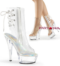 Kiss-1018C, 6 Inch Heel Clear Peep Toe Ankle Boots