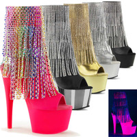 Adore-1024RSF, 7 Inch High Heel Open Toe and Back Fringe Boots