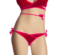 VA025, One Size, Srunch back with tie side bottom and fishnet overlay bottom