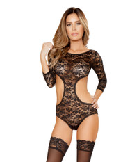 LI109, Lace Teddy with Cutout