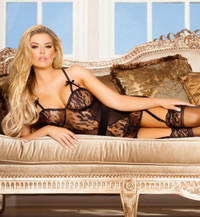 LI116, Mesh And Lace Dress with G-String
