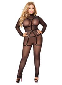 LI118X, Plus Size Mesh Bodysuit