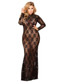 LI129, Plus Size Lace Long Dress