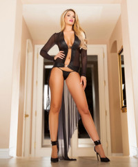 LI130, Mesh Robe with G-string