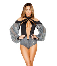 LI135, Romper with Draped Grey Mesh Sleeves