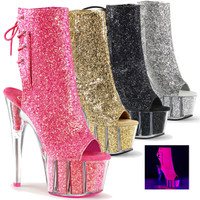 Adore-1018G, 7 Inch High Heel Open Toe Glitters Boots
