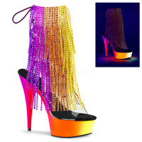 Rainbow-1017RSF-6, 6 inch Fringe Rhinestones Ankle Boot with UV Platform