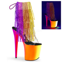 Rainbow-1017RSF-8, 8 inch Fringe Rhinestones Ankle Boot with UV Platform