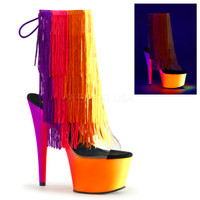 Rainbow-1017TF-7, 7 inch Thread Fringe Ankle Boot with UV Platform