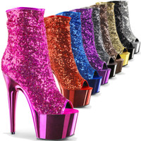 Adore-1008SQ, 7 inch peep toe sequin ankle boot