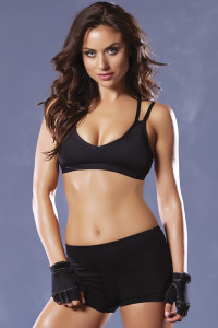 STM-30125, Microfiber Sports Bra with Strappy Cage Back