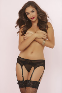 STM-10689, Mesh Garter Belt with Geo Galloon Lace