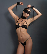 KI4002, Lace Shelf Bra and Crotchless G-string Set
