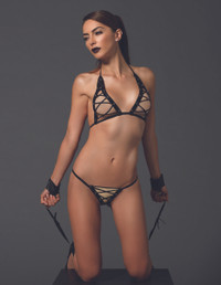 KI4020, Lace up Bra top and G-string Set