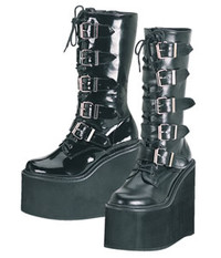 SWING-220, 5.75 Inch Buckles Platform Calf Women gothic boots Mady By Demonia
