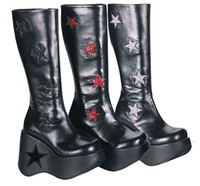 DYNAMITE-600, Star Platform Knee High Women gothic boots Mady By Demonia