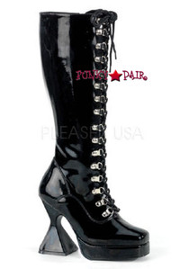 KINK, 4.5 Inch D-ring Cone Heel, Knee Boots
