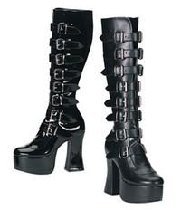 SLUSH-249, 4.75 Inch Platform Buckled Knee Women gothic boots Mady By Demonia