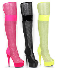 609-Ivy, 6 Inch Mesh Thigh High Boots