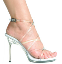 458-Sophia, 4.5 inch Metallic Heel Strappy Sandal