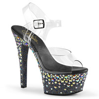 Aspire-608STPL, 6 Inch Vegan Ankle Strap Sandal with Stars Design