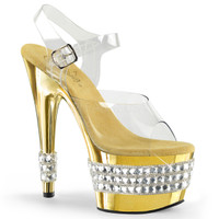 Adore-708RS-3, 7 Inch Stiletto Heel Platform Sandal with Rhinestones