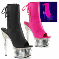 Illusion-1018RS, Open Toe and Back Ankle Boots with 6 Inch Textured Heel