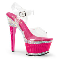 Illusion-658RS, 6 Inch Textured Heel with Rhinestones Platform Sandal