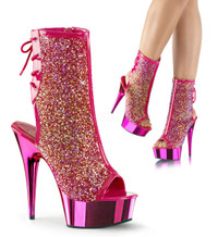 Delight-1018MS, 6 Inch Iridescent Rhinestones Peep Toe Ankle Boots