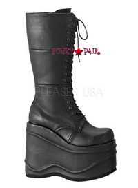 WAVE-302, 6 Inch Lace up Platform Knee High Women gothic boots Mady By Demonia