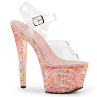 Crystalize-308LT, 7 Inch Ankle Strap with Crystal Tiles