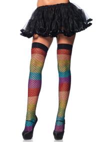 LA9994, Rainbow Thigh Highs Fishnet