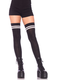 LA6919, Ribbed Athletic Thigh Highs