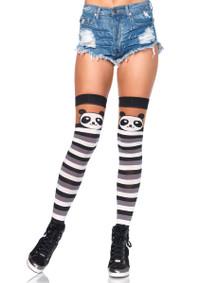 LA6917, Panda Striped Thigh Highs