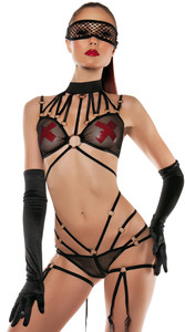SL5005, Strapped Mesh Halter Body Suit