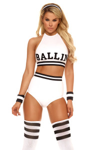 Sexy Basketball Player costume includes halter top crop with screen print detail, matching high-waisted panty, socks, striped headband and wristbands.