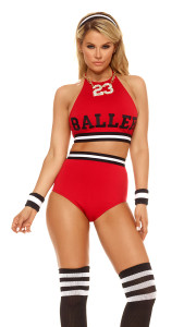 Sexy Women's Basketball Player includes halter neck crop top,  high-waisted panty, socks, headband and wristbands.