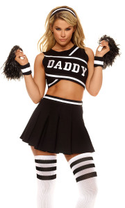 Sexy Cheerleader costume includes screen print crop top, pleated skirt, poms, socks, striped headband and wristbands.