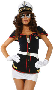 Sexy Navy costume Includes: Top, Skirt, Hat, Glasses, Belt and Gloves.