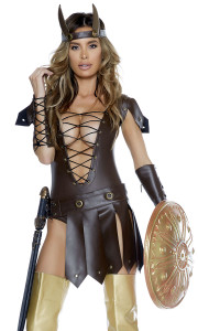 Sexy Warrior costume includes: Faux leather bodysuit with lace-up front detail and fly away belt, arm gauntlets, and matching headpiece.