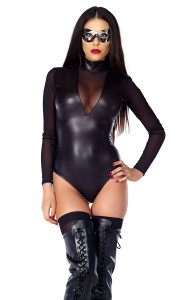 Matte Bodysuit includes: Matte finish mock neck bodysuit with mesh chest inset, sleeve detail, and zipper closure.  (MASK NOT INCLUDED)
