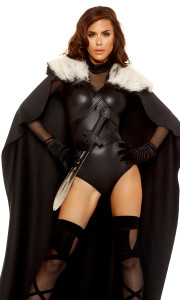 Full length cape with soft, faux fur collar and strappy faux leather harness closure and waist belt. (Bodysuit, Sword, Gloves and Hosiery not included)
