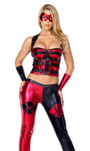 Sexy Superhero costume includes: Two-toned bustier crop top, matching pants and arm gauntlets. (MASK SOLD SEPARATELY)