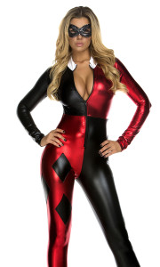 Sexy Comic Book Character costume includes: Metallic catsuit with diamond accents and sequin mask.